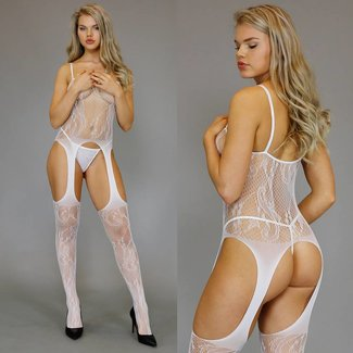 Witte Bodystocking met High Cut Jarretel-Look