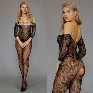 Zwarte Off-Shoulder Visnet Bodystocking met Motief