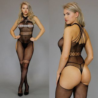 Strappy Zwarte Cross-Over Bodystocking