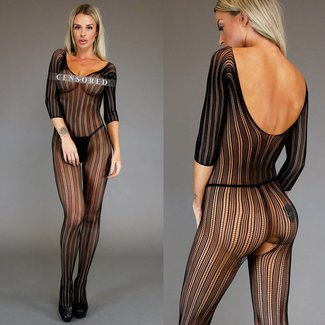 Zwarte Off-Shoulder Striped Bodystocking