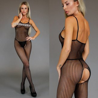 Basic Open Circles Zwarte Bodystocking