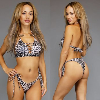 Push-Up Halter Leopard Print Bikini met Strappy Decolleté