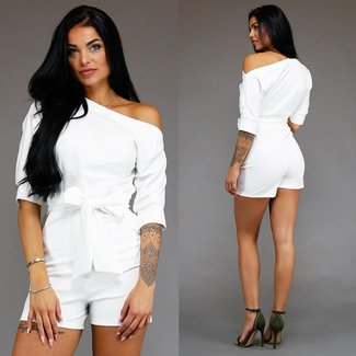 Musthave Playsuit met Knoopdetail Wit