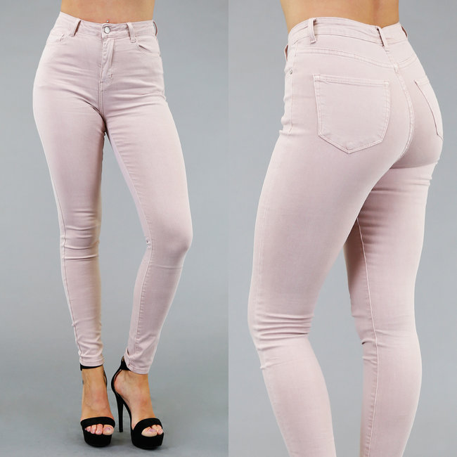 Lichtroze Skinny High Waist Jeans met Stretch