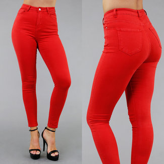 Rode Skinny High Waist Jeans met Stretch