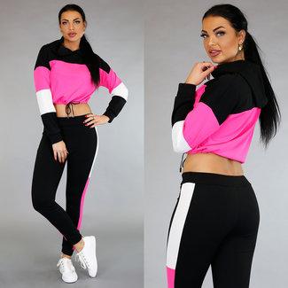 NEW0304 Sporty Multicolor 2-Piece met Crop Sweater Roze