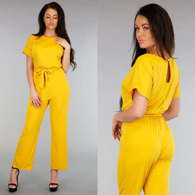 NEW1704 Okergele Flair Jumpsuit met Tailleband