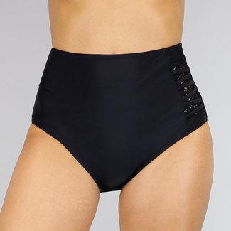 Mix & Match High Waist Bikini Broekje Zwart met Details