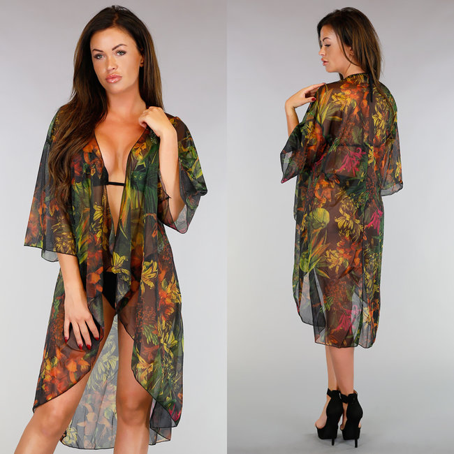 Flower Chiffon Cover-Up Vestje