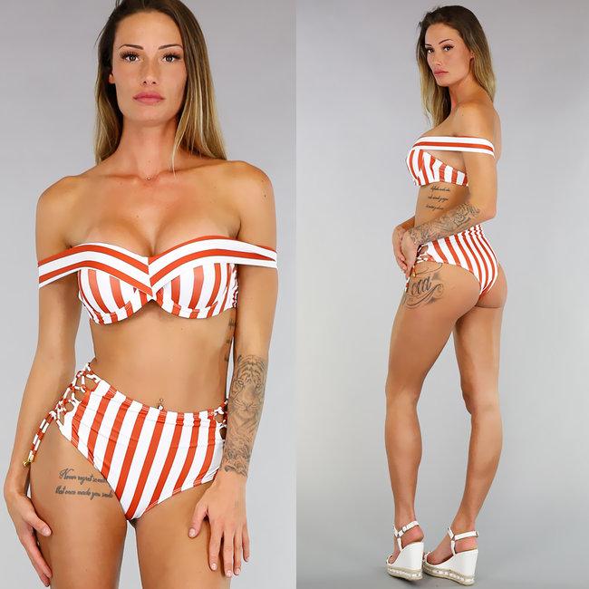 Gestreepte Off-Shoulder Bikini met High Waist Broekje