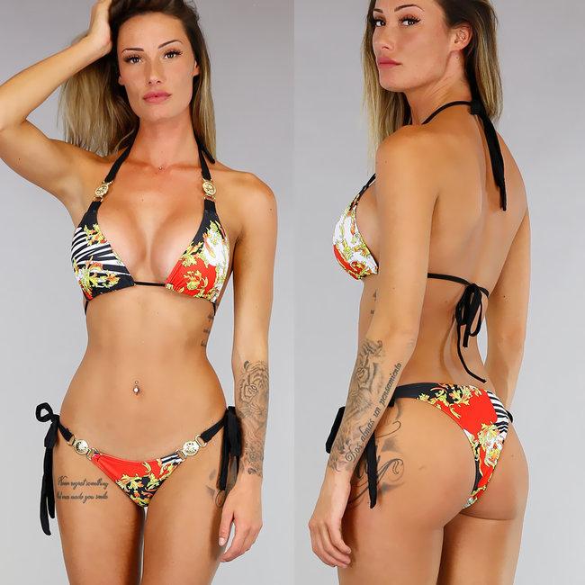 Sexy Ornamental Print Bikini met Gouden Details