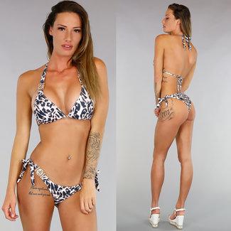 NEW1206 Crystal Diamond Luipaardprint Triangel Bikini