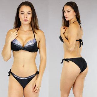 Sparkle Gedraaide Push-Up Halter Bikini Lavendel