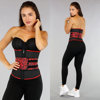 NEW0307 Luipaard Workout Waist Trainer met Klittenband