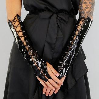 PVC Avondhandschoenen met Veterdetail