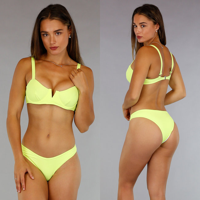 Neon Gele V-Shape Rib Bikini