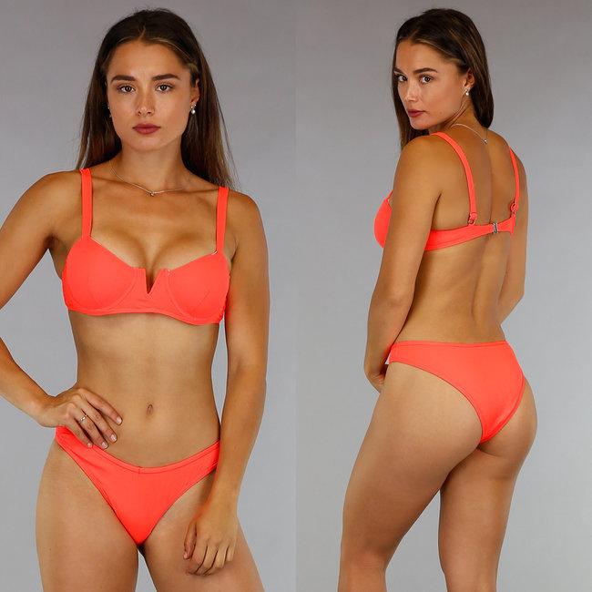 Neon Oranje V-Shape Rib Bikini