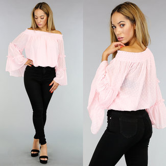 NEW0708 Lichtroze Off-Shoulder Chiffon Top met Stippen