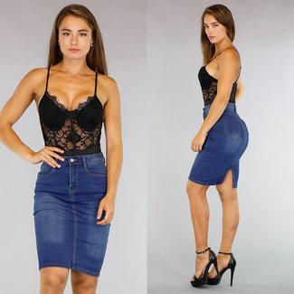 Sexy Zwarte Kanten Body met Beugels