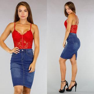 NEW0708 Sexy Rode Kanten Body met Beugels