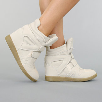 Beige Suède-Look Wedge Sneakers met Sleehak
