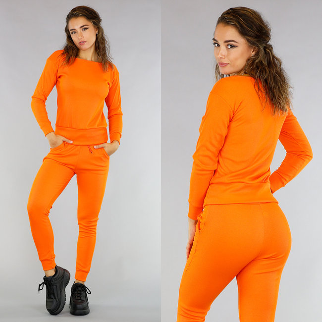 NEW2108 Casual Oranje Rib 2-Piece/Huispak met Sweater