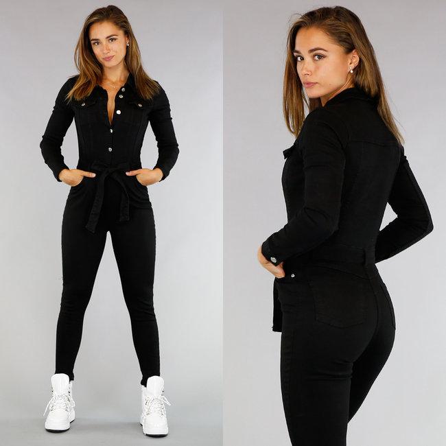 Zwarte Longsleeve Stretch Jeans Jumpsuit met Knopen