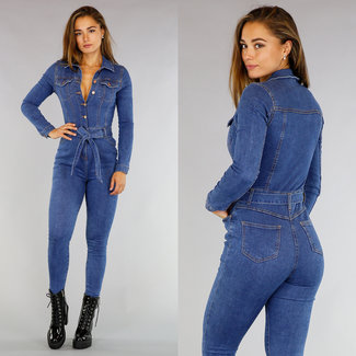 Longsleeve Stretch Jeans Jumpsuit met Knopen