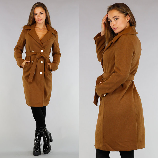 NEW0409 Camel Trenchcoat met Tailleband