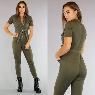 NEW1809 Groene Stretch Jeans Jumpsuit met Knopen