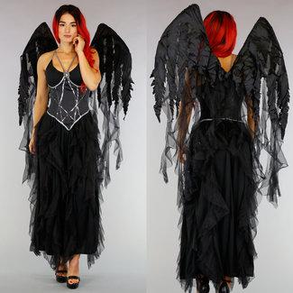 NEW0210 Black Halloween Angel Kostuum