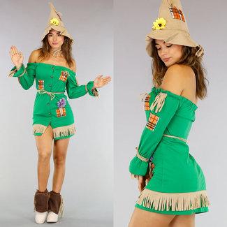 Off-Shoulder Vogelverschrikker Kostuum