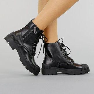 NEW0910 Zwarte Lederlook Veterlaarsjes met Sierrits