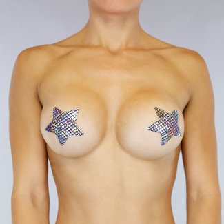 NEW2310 Zilveren Mermaid Stars Tepelbedekkers