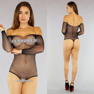 NEW3010 Sexy Off-Shoulder Fishnet Body met Strass