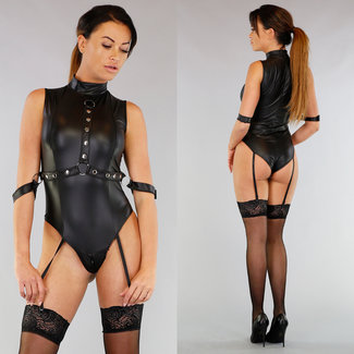 Zwarte Caged Latex Look Body met Ritsen