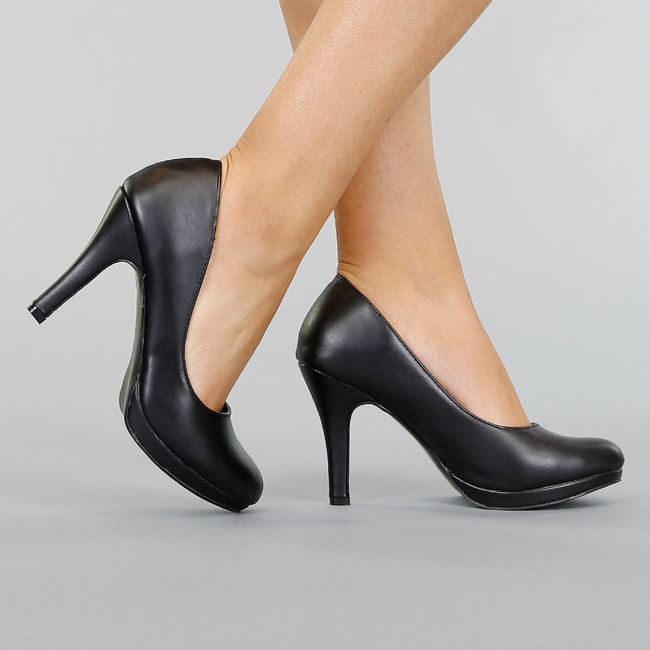 NEW0611 Zwarte Lederlook Pumps met Stiletto Hak