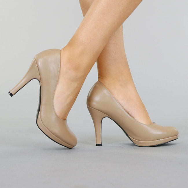 NEW0611 Taupe Lederlook Pumps met Stiletto Hak