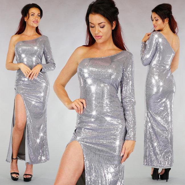 !OP=OP. Zilveren Sparkling One Sleeve Galajurk met Split