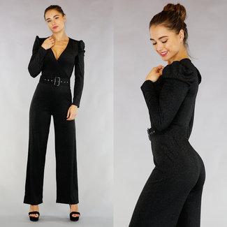 Zwarte Glitter Puff Jumpsuit met Riem