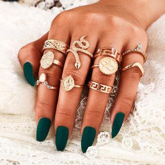 NEW2412 Set van 10 Goudkleurige Ringen