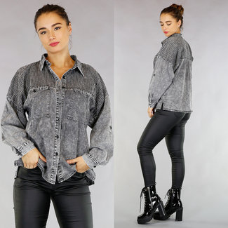 !OP=OP. Grijze Loose-Fit Light Washed Spijkerblouse