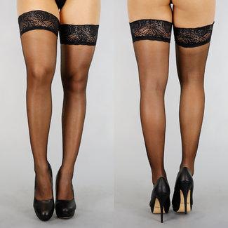 Sexy Zwarte Kousen met Brede Kanten Rand