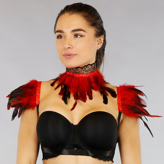 NEW2201 Rode Feather Choker met Mouwtjes