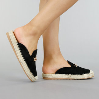 NEW2901 Zwarte Suède-Look Espadrille Loafers