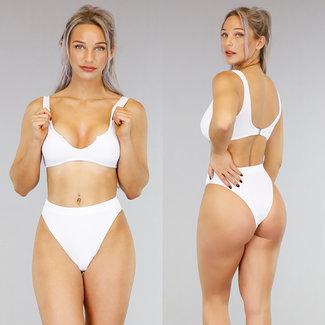 NEW1202 Witte High Waist Rib Bikini met Uitsnede