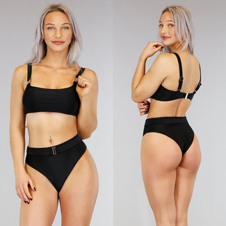 !OP=OP. Zwarte High Waist Bikini met Riempje