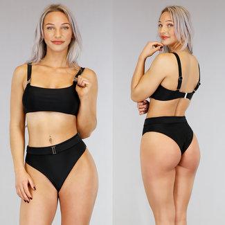 Zwarte High Waist Bikini met Riempje
