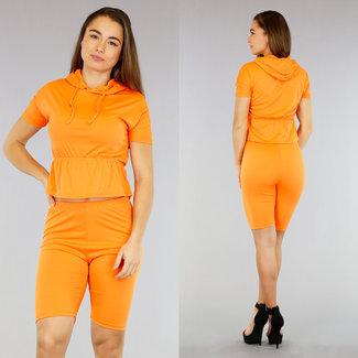 C Oranje 2-Piece met Wielrennersbroekje