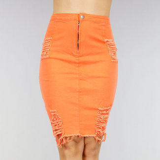 NEW1202 Oranje Denim Rok met Scheuren